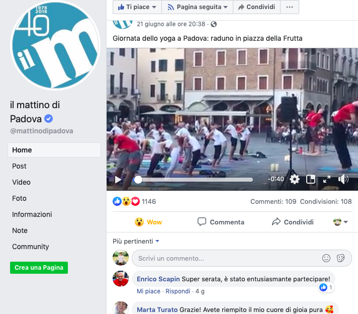Video sul Mattino di Padova della Giornata Internazionale dello Yoga